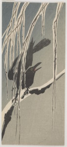 Crow On Willow Woodblock print